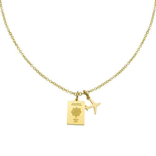 #FRANCE PASSPORT NECKLACE GOLD