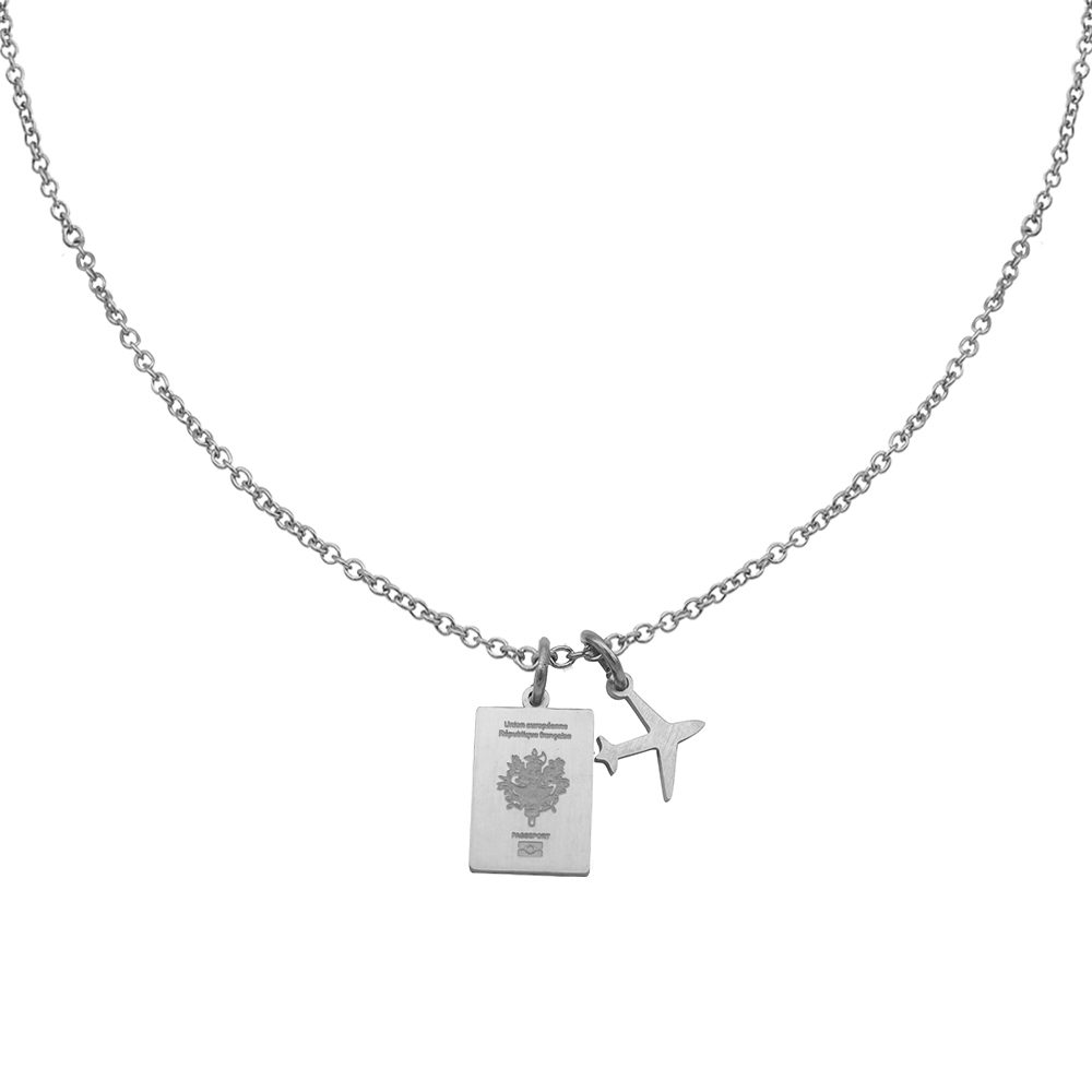 France Passport Travel Necklace Silver